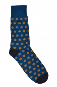 Moroccan Blue/yellow Polka Dot Socks